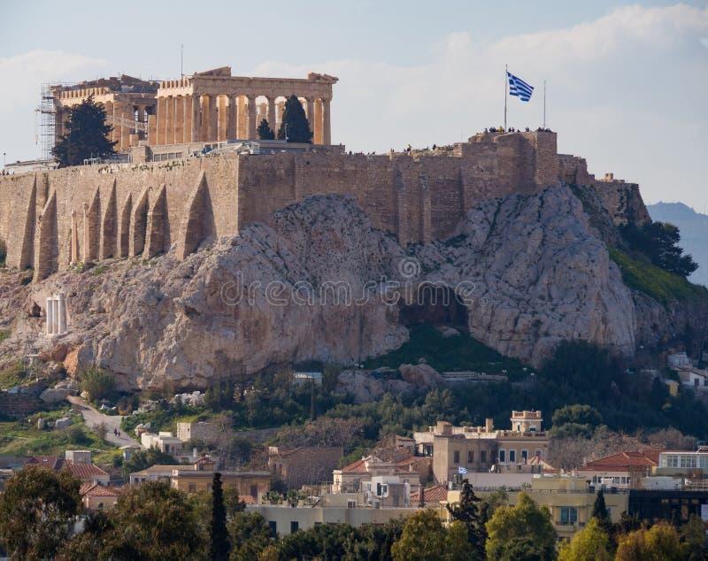 Vue de l'Acropole et du parthenon un jour ensoleillé dans la ville d'Athènes, Grèce image stock