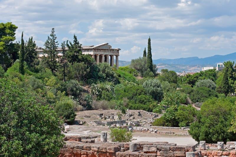 Vue de l'agora antique et du temple de Hephaestus à Athènes, Grèce image libre de droits