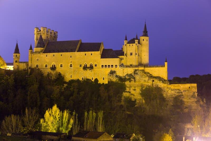 Vue de l'Alcazar de Ségovie égalisant en novembre image libre de droits