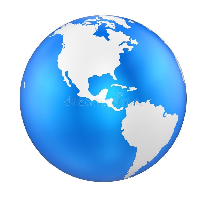 Vue de l'Amérique de globe de la terre d'isolement illustration libre de droits