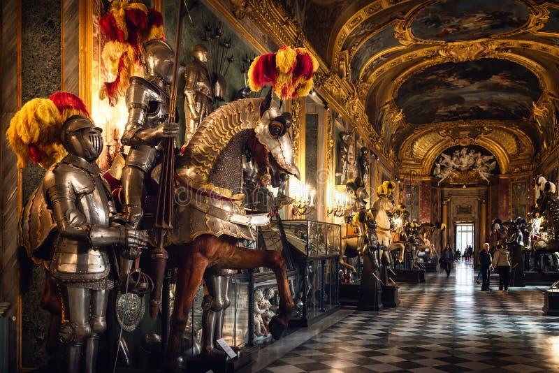 Vue de l'armurerie royale de Turin Italie, Musée National des bras et de l'armure antiques image libre de droits
