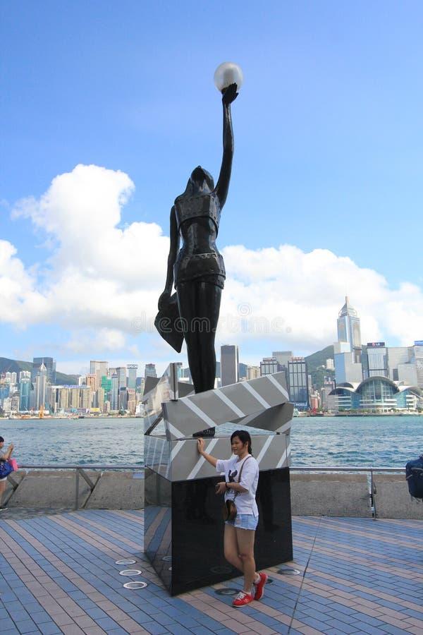 Vue de l'avenue des étoiles en Hong Kong photo stock