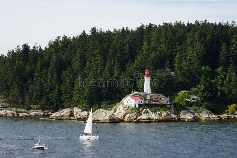 Vue de l'eau du phare d'Atkinson de point, Canada photos libres de droits