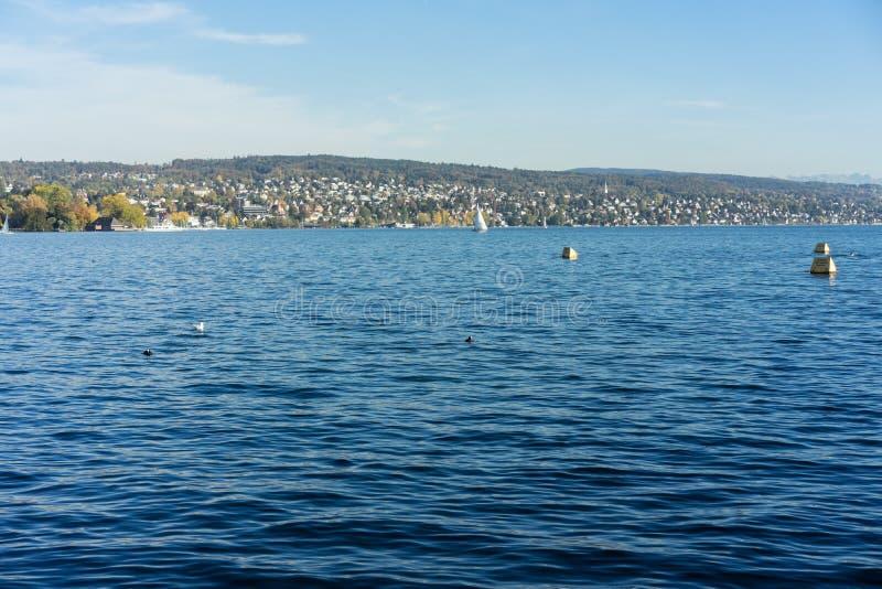 Vue de l'eau de Zurich de lac avec la Gold Coast dans le dos et les montagnes photographie stock