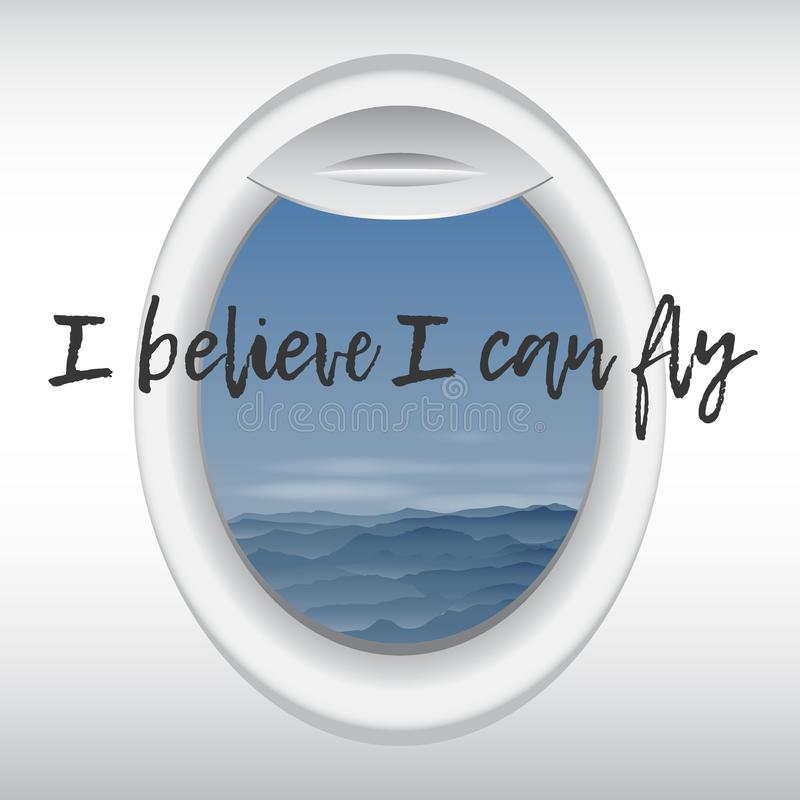 Vue de l'hublot d'avion Vol au-dessus des montagnes Vue plate de fenêtre de la cabine Image de vecteur illustration stock