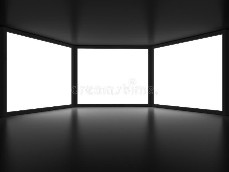 Vue de l'intérieur de pièce foncée illustration de vecteur