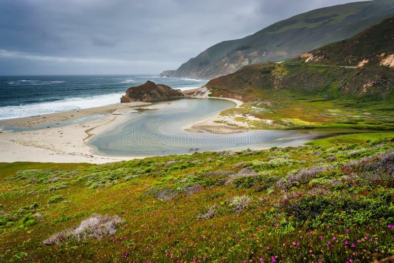 Vue de l'océan pacifique et de la rivière de Big Sur, dans Big Sur photo stock