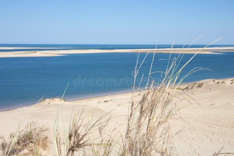 Vue de la baie d'Arcachon et le Duna de Pyla, Pilat l'Aquitaine, la plus haute dune de la France en Europe photo libre de droits
