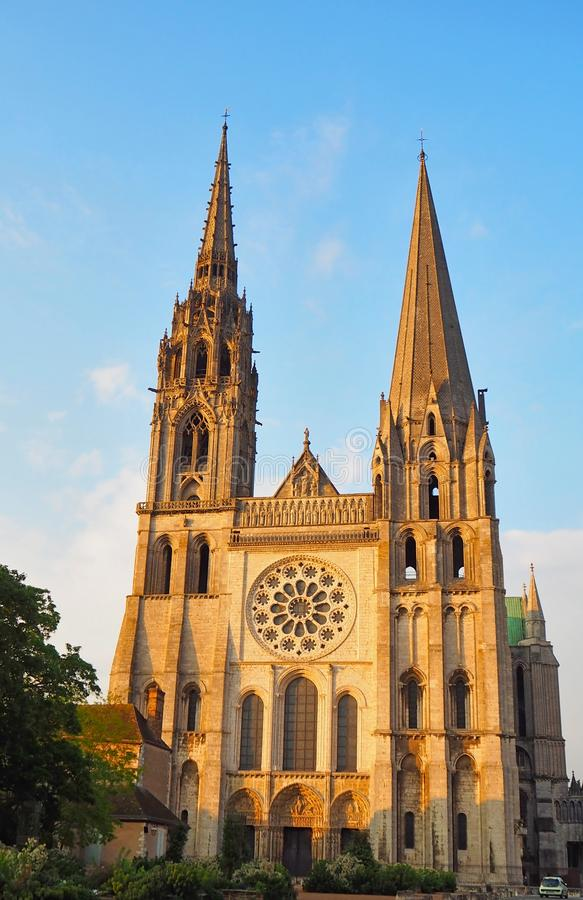 Vue de la cathédrale Notre-Dame De Chartres Ind Chartres dans le département d'Eure et de Loir du Val de Loire, France photo stock