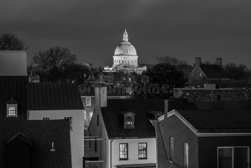 Vue de la chapelle d'Acad?mie Navale des Etats-Unis la nuit, ? Annapolis, le Maryland photos libres de droits