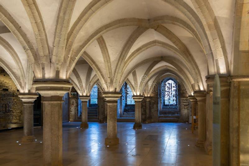 Vue de la crypte dans la cathédrale à Rochester le 24 mars 2019 images stock