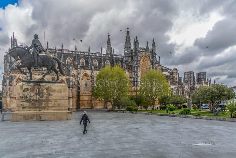 Vue de la fa?ade ext?rieure gothique fleurie du monast?re de Batalha, Mosteiro DA Batalha images stock