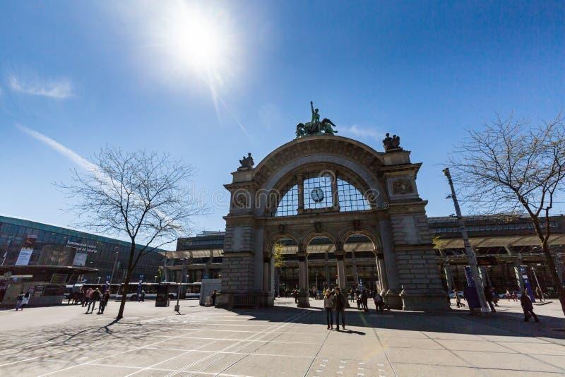 Vue de la luzerne au printemps 2017 en Suisse photographie stock libre de droits