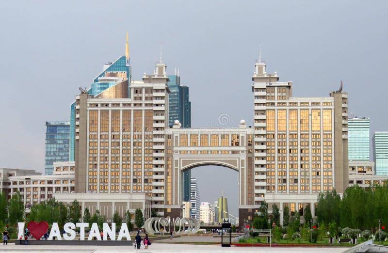 Vue de la partie centrale du capital Kazastan Ancien Astana, maintenant Nursultan image libre de droits