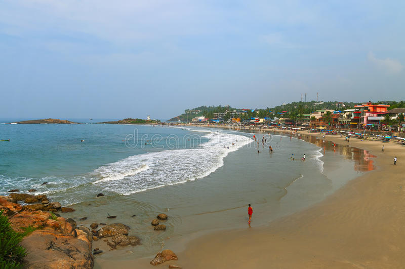 Vue de la plage de phare dans Kovalam photo stock