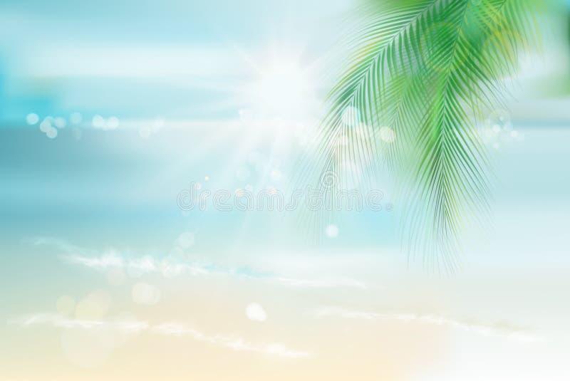 Vue de la plage ensoleill?e Illustration de vecteur illustration stock