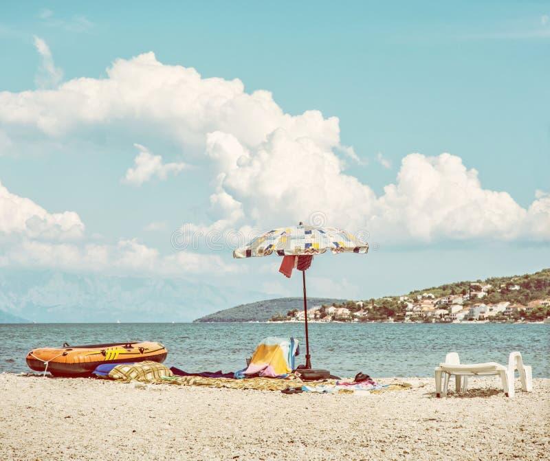 Vue de la plage de Pantan dans Trogir au Ciovo, filtre de beauté image stock