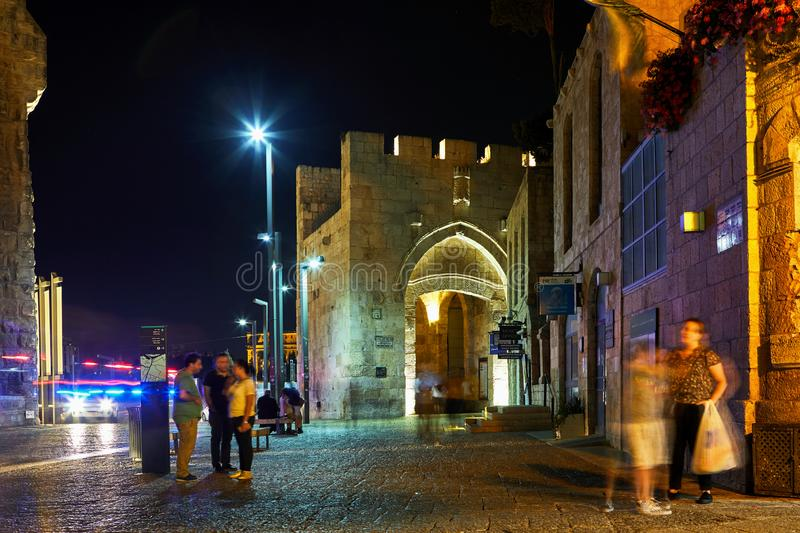 Vue de la porte de Jaffa à Jérusalem image stock