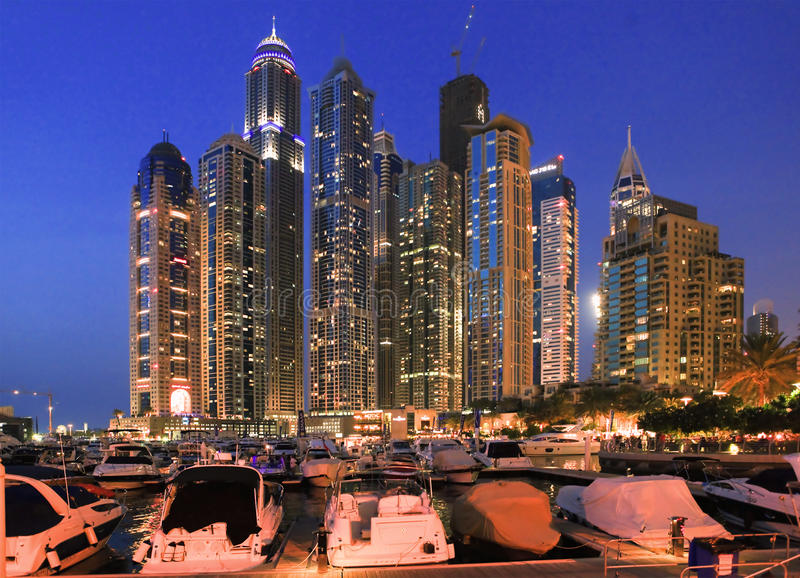 Vue de la région de Dubaï - la marina de Dubaï images libres de droits
