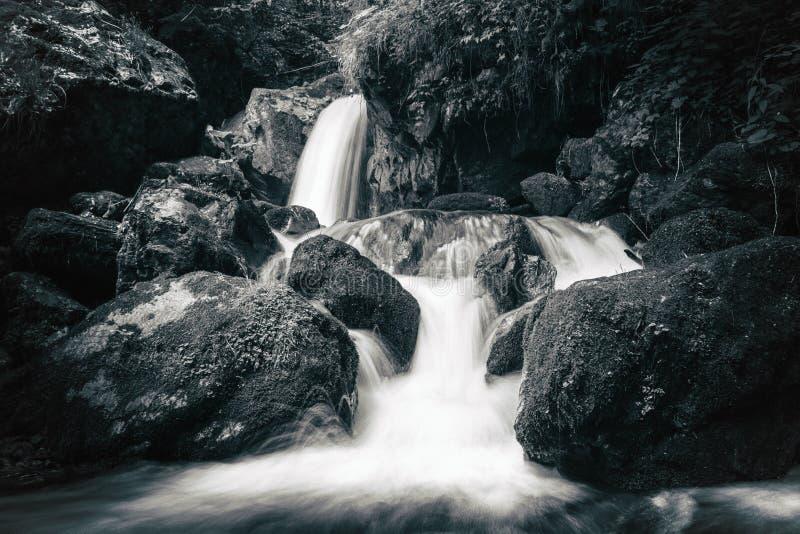 Vue de la rapide pierreuse en rivière de montagne image stock