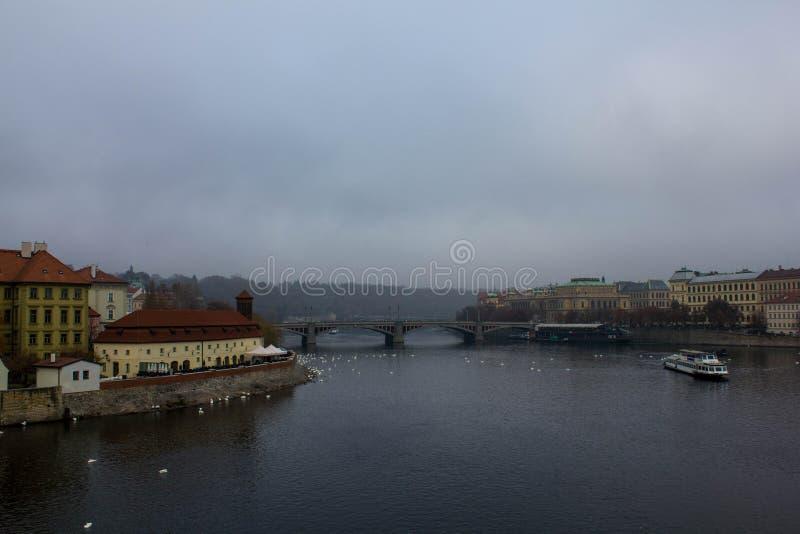 Vue de la rivière de Vltava un jour gris d'automne Paysage triste à Prague Rivière et bâtiments sur les banques de la capitale tc photos libres de droits