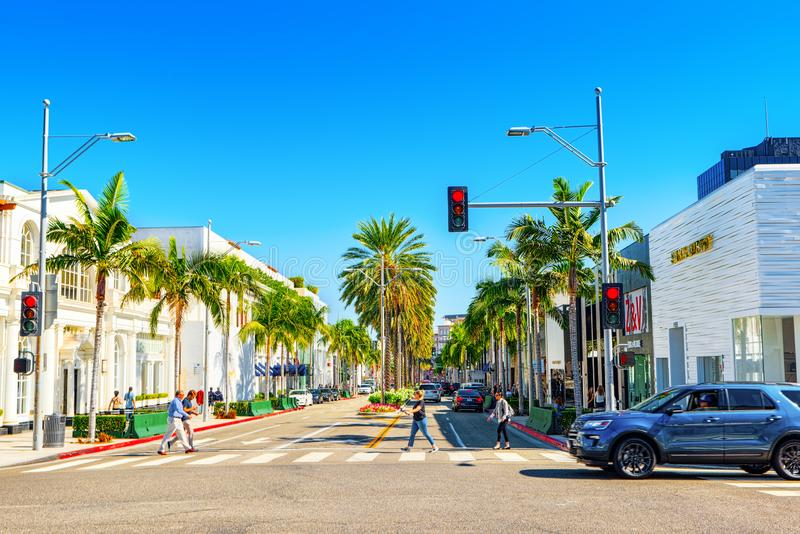 Vue de la rue ? la mode Rodeo Drive ? Hollywood, LA photographie stock libre de droits