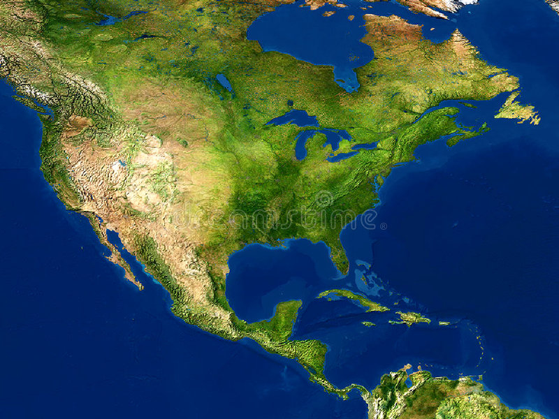 Vue de la terre - carte, Amérique du Nord illustration libre de droits