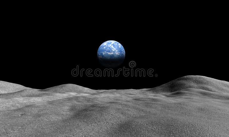 Vue de la terre de la lune illustration libre de droits