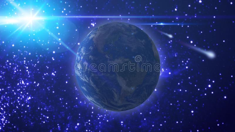 Vue de la terre, du soleil et de la comète volante contre le ciel étoilé illustration de vecteur