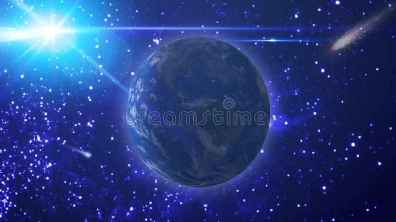 Vue de la terre, du soleil et de la comète volante contre le ciel étoilé illustration libre de droits