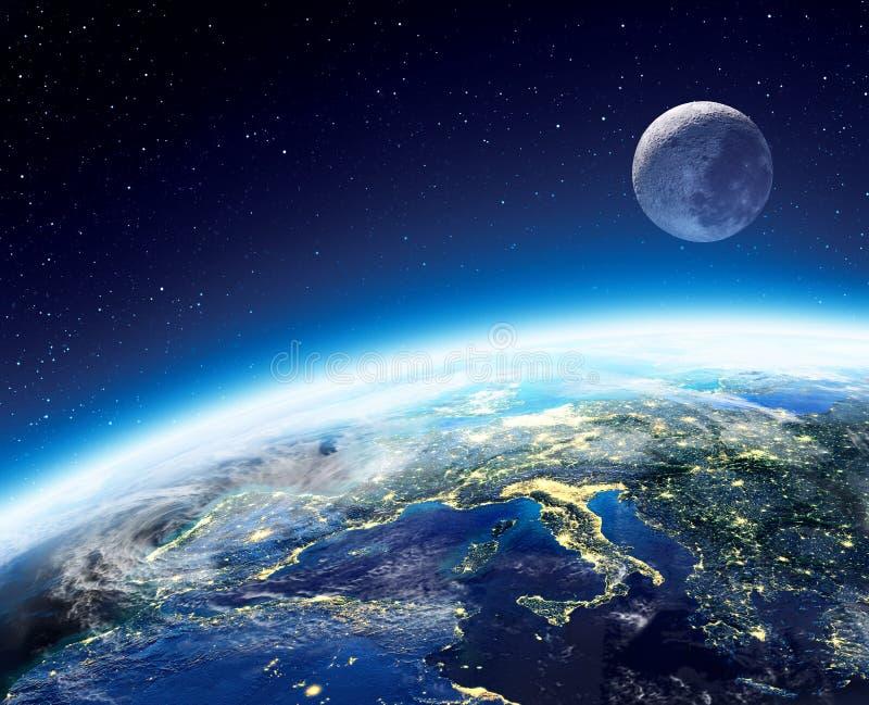 vue de la terre et de lune de l 39 espace la nuit image stock. Black Bedroom Furniture Sets. Home Design Ideas