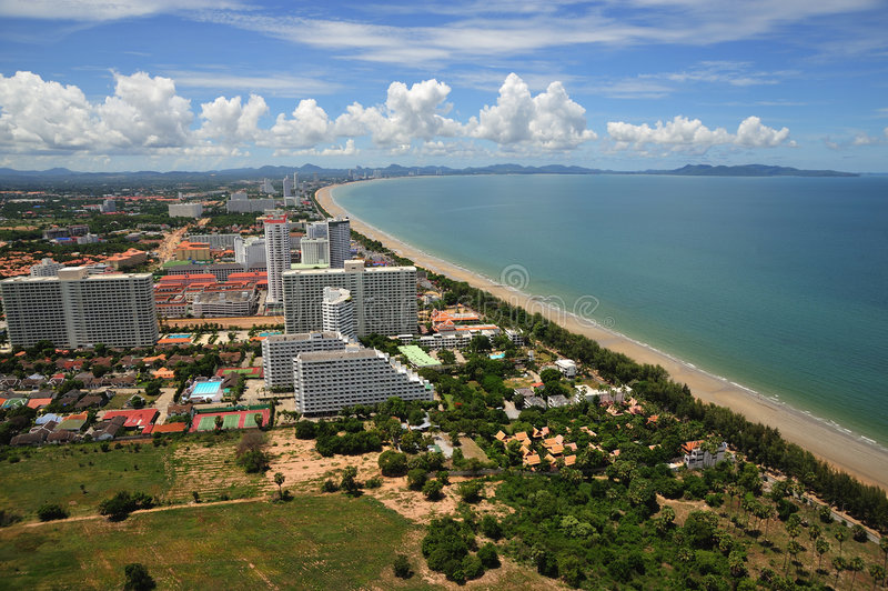 Vue de la Thaïlande de compartiment de Jomtien et de Pattaya photographie stock libre de droits