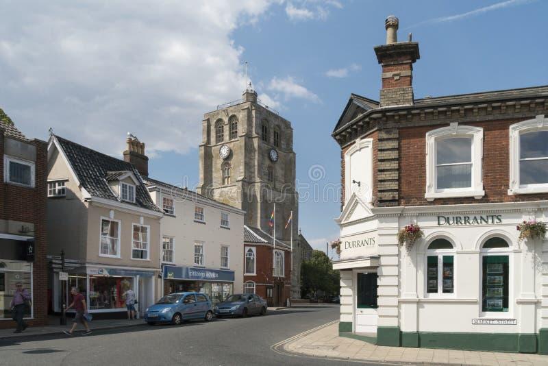 Vue de la tour de Bell, Beccles, Suffolk, R-U image libre de droits