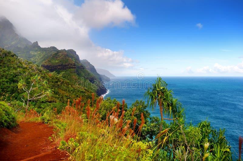 Vue de la traînée célèbre de Kalalau le long de la côte de Na Pali de l'île de Kauai photo stock