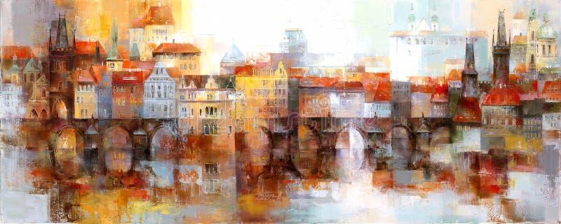 Vue de la vieille ville à Prague illustration de vecteur