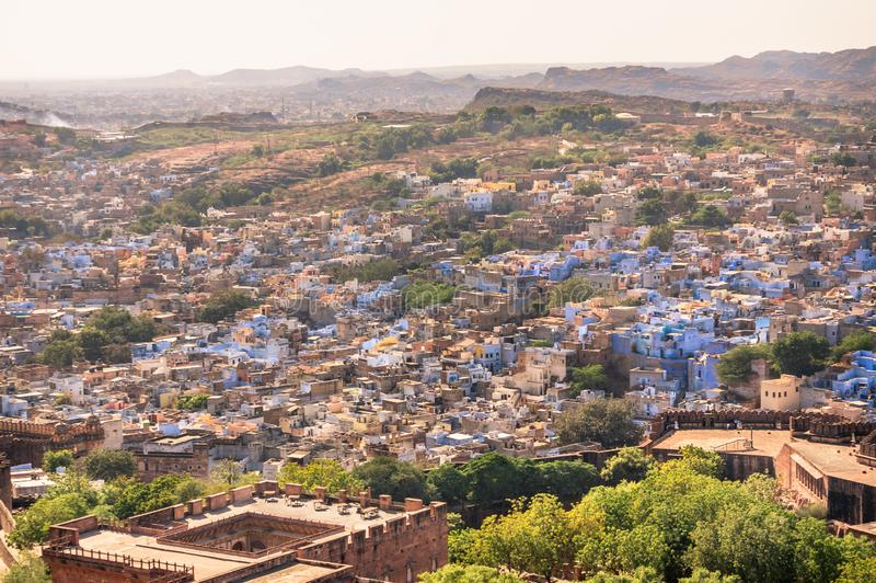 Vue de la ville bleue de Jodhpur, Inde de fort de Mehrangarh photos libres de droits