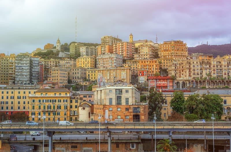 Vue de la ville de Gênes en Italie photographie stock libre de droits