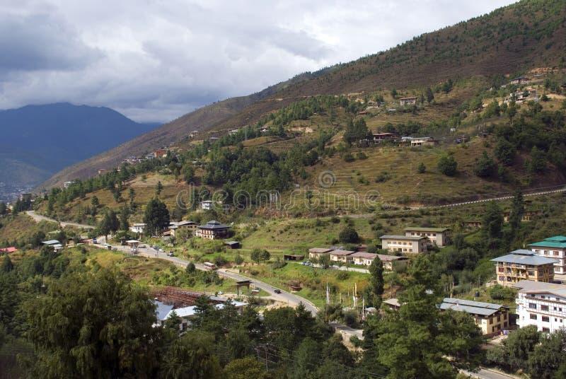 Vue de la ville, Thimphou, Bhutan photographie stock libre de droits