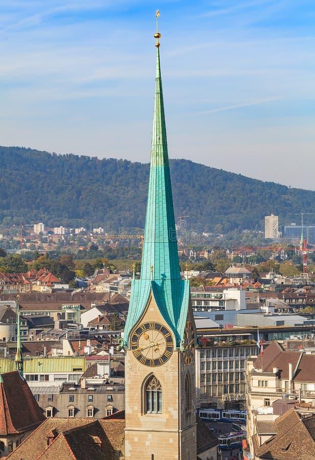 Vue de la ville de Zurich de la tour du Grossmunster Ca photo stock
