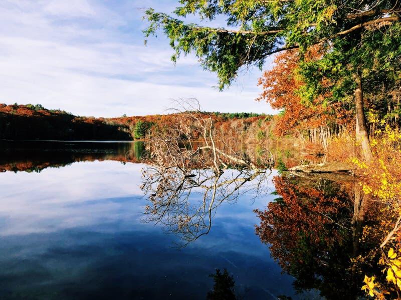 Vue de lac d'automne de parc d'état d'étang de bavures belle image libre de droits