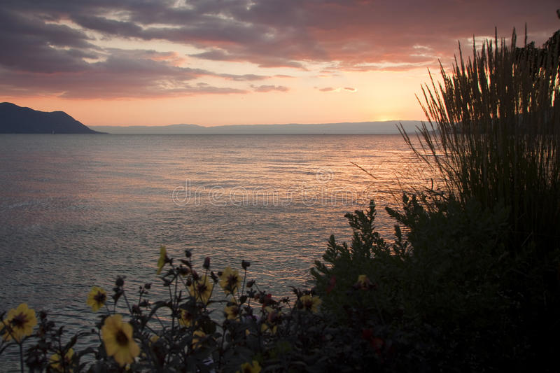 Vue de lac geneva au coucher du soleil photographie stock