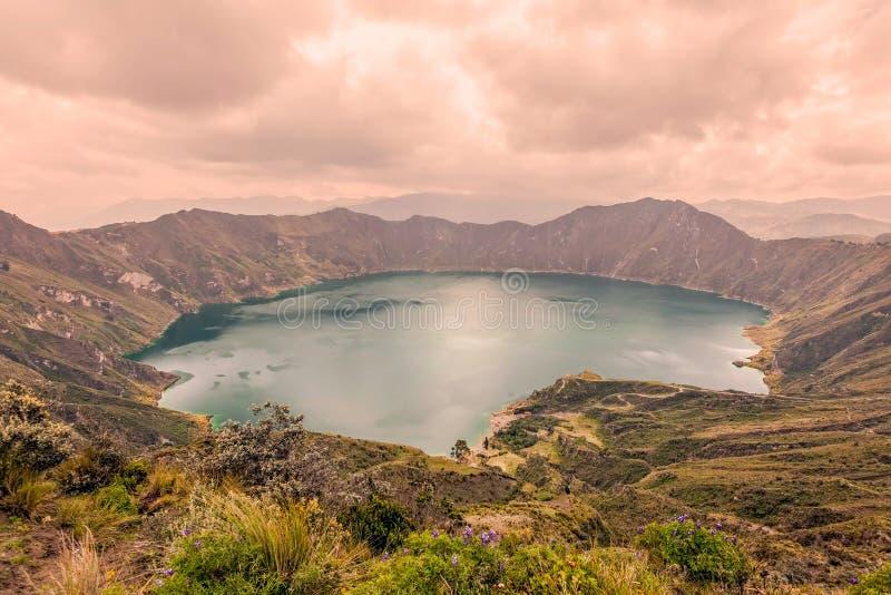 Vue de lac Quilotoa, Equateur images libres de droits