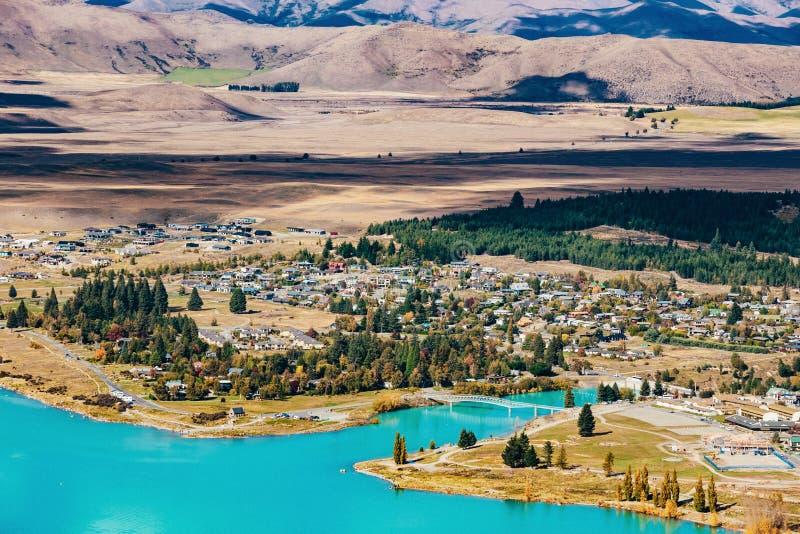 Vue de lac Tekapo de bâti John, NZ photographie stock