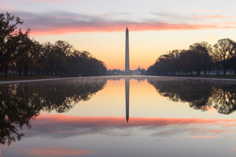 Vue de lever de soleil d'horizontal de Washington DC de monument images libres de droits
