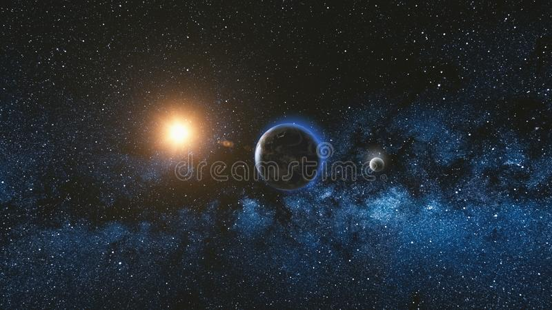 Vue de lever de soleil de l'espace sur terre et la lune de planète illustration stock