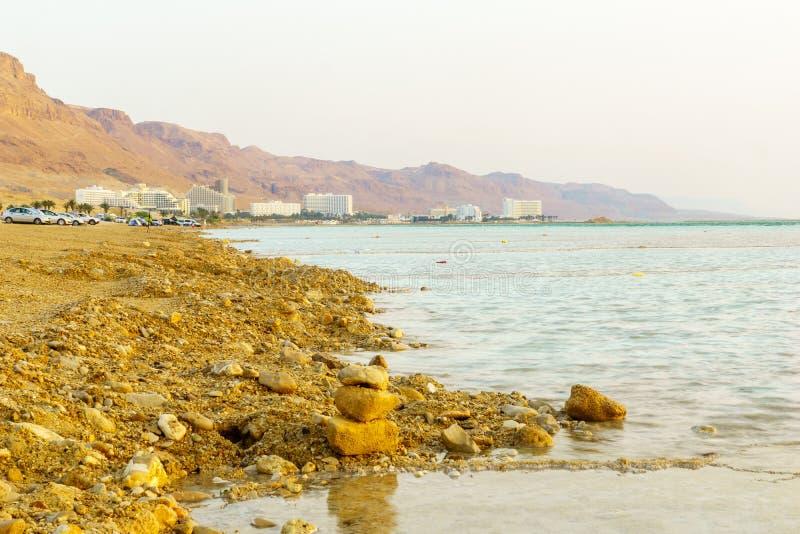 Vue de lever de soleil de station de vacances d'Ein Bokek photos libres de droits