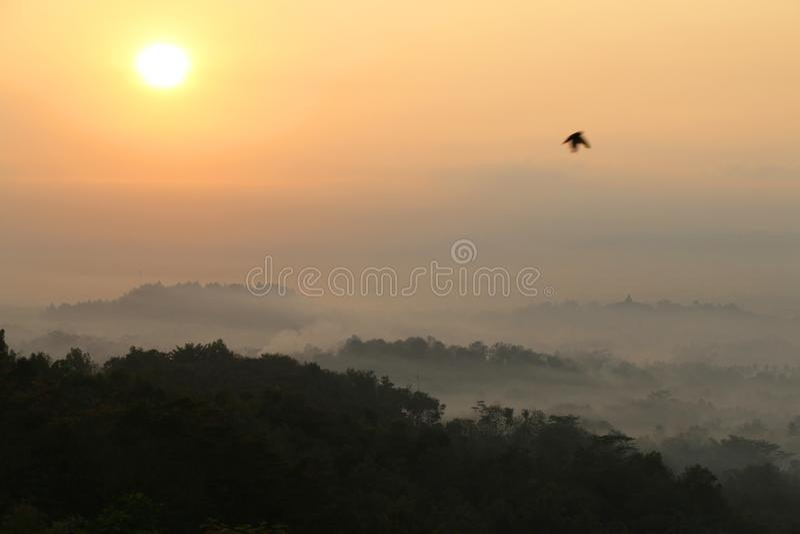 Vue de lever de soleil de temple de Borobudur à l'arrière-plan Rainfo brumeux photo stock