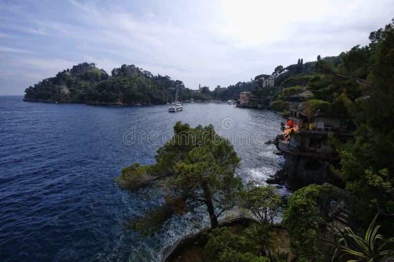 Vue de littoral de secteur suburbain de Portofino image libre de droits