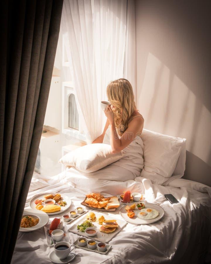 Vue de luxe exotique de petit déjeuner de voyage de mode de vie photo stock