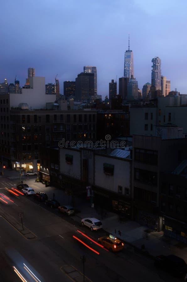 Vue de Manhattan de Lower East Side de paysage urbain de NYC d'horizon de Freedom Tower photos stock